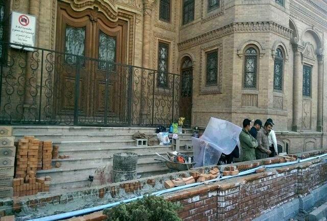 دیوارکشی جدید در میدان بهارستان
